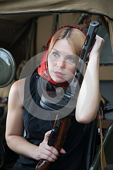 A Girl And A Gun Royalty Free Stock Photo - Image: 25448825