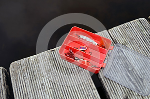 Fishing Tackle Box Red Stock Image - Image: 25462111