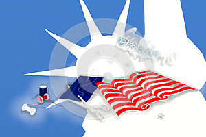 America Flag And Statue Of Liberty Royalty Free Stock Photo - Image: 25465805