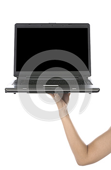 Hand Hold Laptop Stock Photo - Image: 25479770