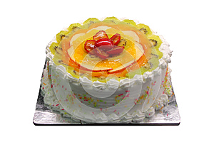Yummy Delicious Party Cake With Sliced Fruit Piece Royalty Free Stock Photo - Image: 25488745