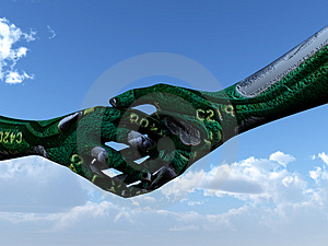 Micro Chip Shake Hands Royalty Free Stock Images - Image: 2557319