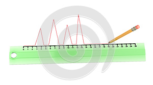 Pencil Draws A Red Curve Line Along The Ruler Royalty Free Stock Photos - Image: 25503748