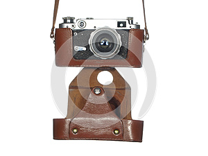 Classic Vintage Camera In A Leather Cover Royalty Free Stock Photography - Image: 25505027