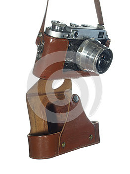 Classic Vintage Camera In A Leather Cover Royalty Free Stock Photos - Image: 25505028