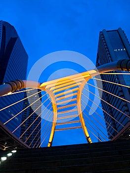 Pubic Skywalk At Bangkok Downtown Square Night Royalty Free Stock Photos - Image: 25541918
