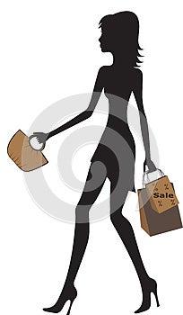 Illustration Of Fashionable Women Shopping. Royalty Free Stock Image - Image: 25543236