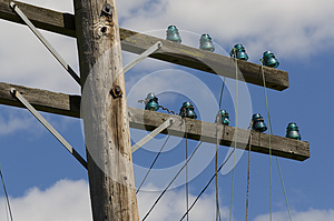 Old Telegraph Wires Dangling From Pole Royalty Free Stock Photography - Image: 25557327