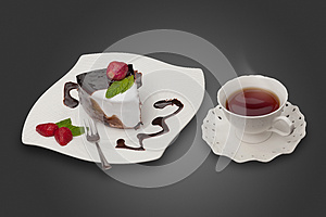 Cake With Strawberry And A Cup Of Tea Stock Images - Image: 25567034
