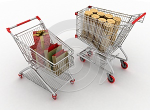 Shopping Carts With Boxes And Dollars Royalty Free Stock Images - Image: 25579809