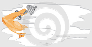 Masculine Hand With Dumbbell. Sport Banner Royalty Free Stock Photography - Image: 25580957