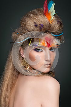 Beauty Portrait In Feathers Royalty Free Stock Image - Image: 25591796