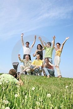 Group is joyfully photographed Stock Photography