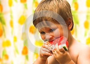 Boy Eating A Watermelon Stock Photo - Image: 25602020