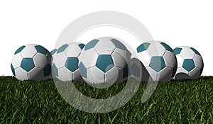 Cyan Soccer Balls On A Green Grass Stock Photography - Image: 25608502