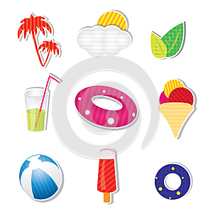 Vector Summer Icon Set On White Background Royalty Free Stock Photos - Image: 25624538
