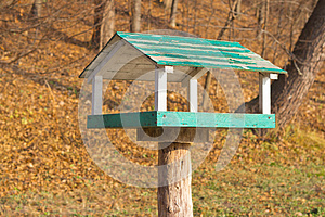 Wooden Bird Feeder In The Park Stock Photography - Image: 25632022