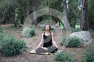 Yoga In Forest Royalty Free Stock Photo - Image: 25643485
