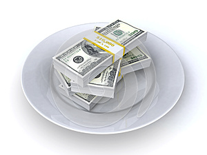Money On The Plate Royalty Free Stock Image - Image: 25651116