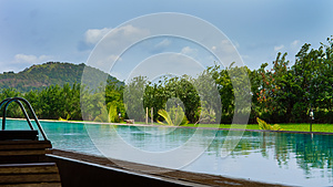 Beautiful Blue Pool With Tropical Vegetation Royalty Free Stock Image - Image: 25653506