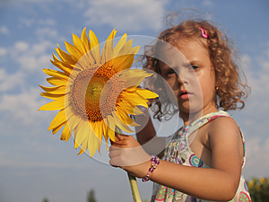 Girl With Sunflower Royalty Free Stock Images - Image: 25661889