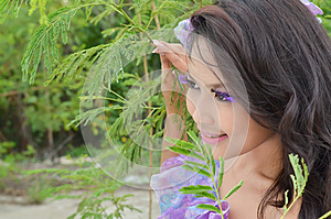 Beautiful Woman Looking Into The Distance Stock Image - Image: 25683121