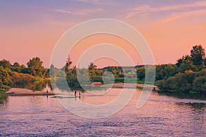 Beautiful Lake On Sunset Royalty Free Stock Photo - Image: 25702785