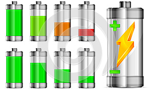 Battery With Level Indicator Royalty Free Stock Images - Image: 25707939