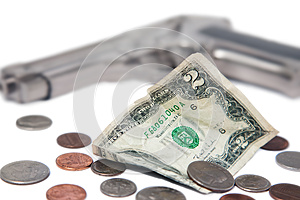 Money And A Gun Stock Images - Image: 25757314