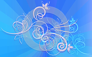 Floral Ornament On Blue Rays Royalty Free Stock Image - Image: 25767456