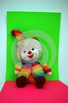 Rainbow Colored Clown Doll On Bright Background Royalty Free Stock Images - Image: 25767599