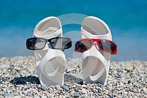 Sandálias Engraçadas Na Praia Fotos de Stock - Imagem: 25769083