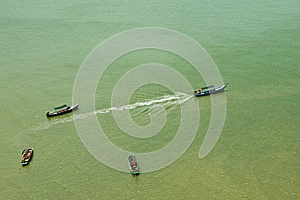 Service Boats To Island Royalty Free Stock Image - Image: 25789996