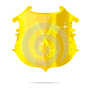 Gold Emblem Label Keys  Royalty Free Stock Photography - Image: 25793517