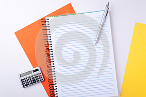 Notebook, Calculator And Pen Royalty Free Stock Photography - Image: 25795437