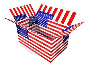 USA Flag Box Stock Image
