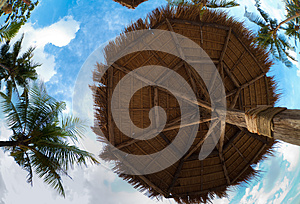 Umbrella Made From Palm Leaves On Tropical Beach Stock Image - Image: 25809611