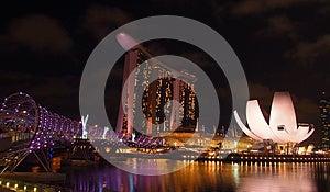 The Marina Bay Waterfront, Panorama View Stock Images - Image: 25825214