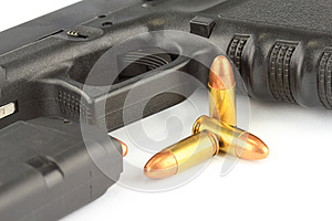 Bullets And Semi-automatic Gun Stock Images - Image: 25838254