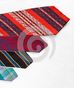 Neckties On White Cloth Stock Image - Image: 25845891
