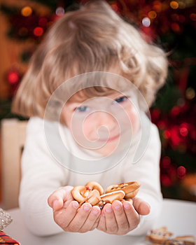 Happy Child Holding Cookies Stock Image - Image: 25860661