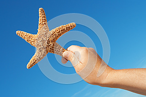 Starfish In His Hand Stock Image - Image: 25871951