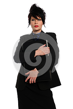 Young Businesswoman Holding A Laptop Computer Royalty Free Stock Photos - Image: 25890688