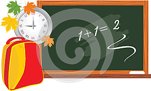Blackboard And School Backpack. Back To School Stock Photography - Image: 25927352