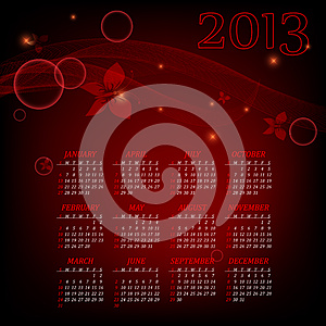Bright 2013calendar Stock Image - Image: 25935111