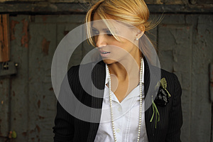A Stylish Young Woman On Vintage Background Royalty Free Stock Photo - Image: 25939905