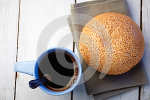 Coffee And Loaf With Sesame Stock Image - Image: 25945521