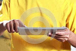 Man Using Digital Tablet Stock Images - Image: 25949984