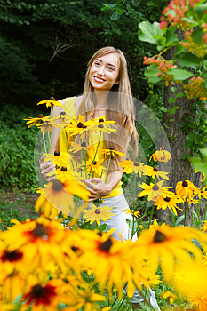 Young Woman Close Up In The Woods With Flowers Royalty Free Stock Images - Image: 25964159