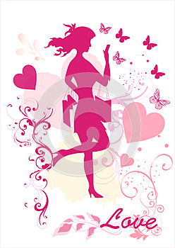 Dreamy Girl  Vector Silhouette Stock Images - Image: 25977674
